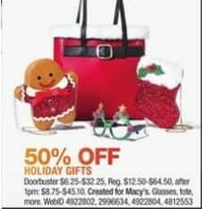 Macy's Black Friday: Select Holiday Gifts: Glasses, Tote and More for $6.25 - $32.25