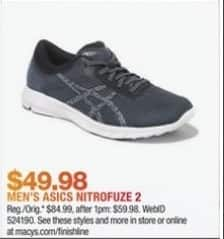 Macy's Black Friday: Men's Asics Nitrofuze 2 for $49.98