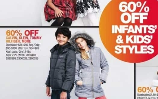 Macy's Black Friday: Select Kids Outerwear: Calvin Klein, Tommy Hilfiger and More for $36.00 - $56.00
