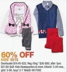 Macy's Black Friday: Select Kids' Outfits: Kids' Headquarters and More for $14.40 - $32.00