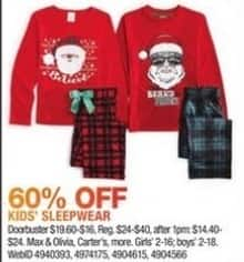 Macy's Black Friday: Select Kids' Sleepwear: Max & Olivia, Carter's and More for $9.60 - $16.00