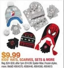 Macy's Black Friday: Select Kids' Hats, Scarves and More: Spider-Man, Frozen and More for $9.99