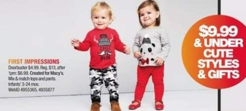 Macy's Black Friday: Select Infants' First Impressions Tops and Pants for $4.99