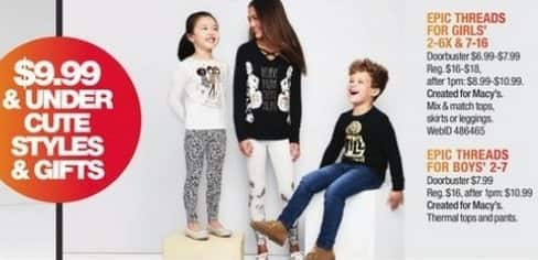 Macy's Black Friday: Select Kids' Epic Threads Clothes: Tops, Pants and More for $6.99 - $7.99