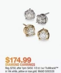 Macy's Black Friday: 1/2 ct. t.w. TruMiracle Diamond Stud Earrings in 14k Gold for $174.99