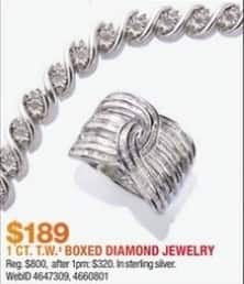 Macy's Black Friday: Select 1 ct. t.w. Sterling Silver Boxed Diamond Jewelry for $189.00
