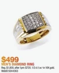 Macy's Black Friday: 1/2 ct. t.w. Men's Diamond Two-Tone 10k Gold Ring for $499.00