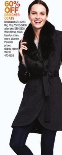 Macy's Black Friday: Calvin Klein Women's Faux-Fur-Trim High-Low Walker Coat for $64.00 - $184.00