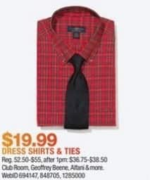 Macy's Black Friday: Select Men's Dress Shirts and Ties: Club Room, Geoffrey Beene and More for $19.99