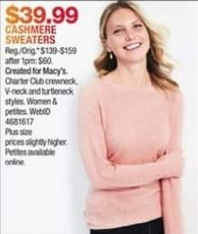 Macy's Black Friday: Charter Club Women's Cashmere Sweater for $39.99