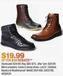 Macy's Black Friday: Select Men's Sneakers, Boots or Dress Shoes: Levi's, Nautica and More for $29.99 after $10 rebate