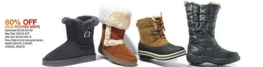 Macy's Black Friday: Select Women's Cold Weather Boots: Pawz, Style & Co and More for $23.80 - $31.60