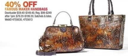 Macy's Black Friday: Select Famous Maker Handbags: Satchels or Totes for $59.40 - $149.40