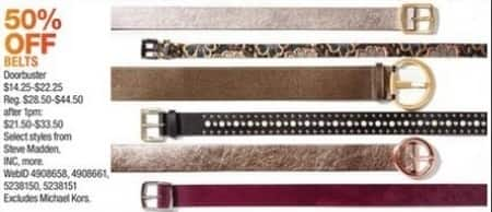 Macy's Black Friday: Select Belts: INC, Steve Madden and More for $14.25 - $22.25