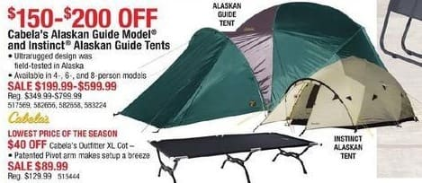 Cabelas Black Friday: Cabela's Alaskan Guide Model and Instinct Alaskan Guide Tents for $199.99 - $599.99