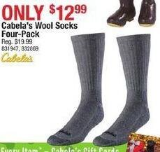 Cabelas Black Friday: Cabela's Wool Socks Four-Pack for $12.99