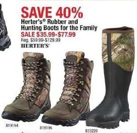 Cabelas Black Friday: Herter's Rubber and Hunting Boots for the Family for $35.99 - $77.99