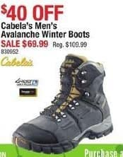 Cabelas Black Friday: Cabela's Men's Avalanche Winter Boots for $69.99