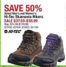 Cabelas Black Friday: Select Men's and Women's Hi-Tec Skamania Hikers for $37.50 - $59.99