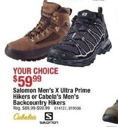 Cabelas Black Friday: Salomon Men's X Ultra Prime Hikers for $59.99