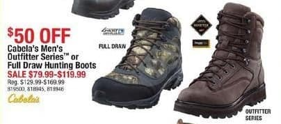 Cabelas Black Friday: Cabela's Men's Outfitter Series or Full Draw Hunting Boots for $79.99 - $119.99
