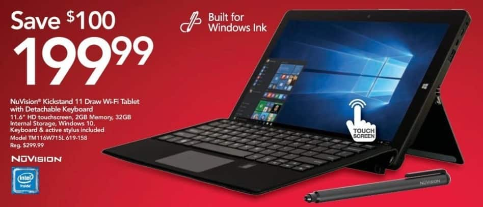 """Office Depot and OfficeMax Black Friday: 2GB NuVision Kickstand TM116W715L 11.6"""" Draw Wi-Fi Tablet w/Detachable Keyboard for $199.99"""