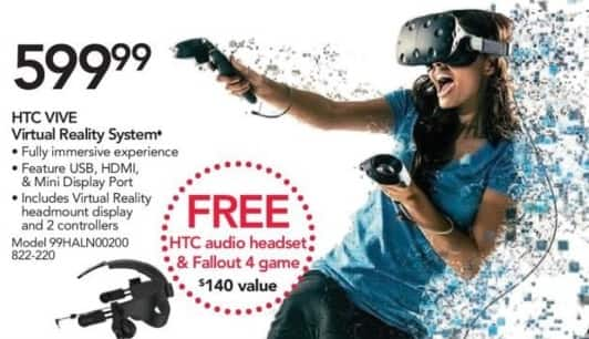 Office Depot and OfficeMax Black Friday: HTC VIVE Virtual Reality System + HTC Audio Headset and Fallout 4 Game for $599.99