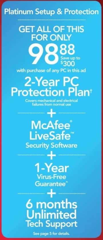 Office Depot and OfficeMax Black Friday: 2-Year PC Protection Plan + McAfee LiveSafe + 6 Months Unlimited Tech Support for $98.88