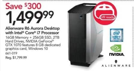 Office Depot and OfficeMax Black Friday: Alienware R6 Aurora AWAUR67512SLV Desktop w/Intel Core i7 Processor, 16GB Memory and 256GB Solid State Drive for $1,499.99