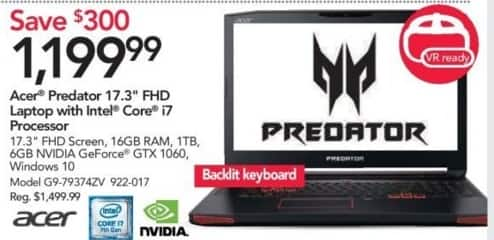 "Office Depot and OfficeMax Black Friday: Acer Predator G9-79374ZV 17.3"" FHD Laptop w/Intel Core i7 Processor, 16GB RAM and 1TB HDD for $1,199.99"