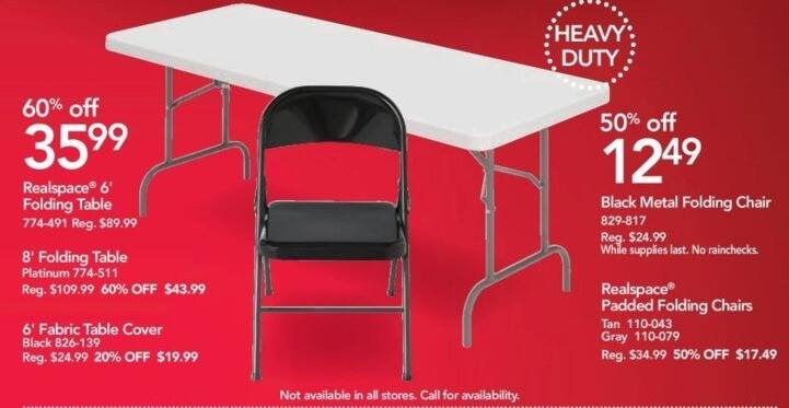 Office Depot and OfficeMax Black Friday: 6' Black Fabric Table Cover for $19.99