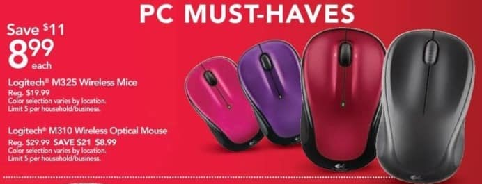 Office Depot and OfficeMax Black Friday: Logitech M325 Wireless Mice for $8.99