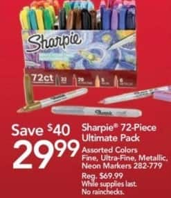 Office Depot and OfficeMax Black Friday: Sharpie 72-Piece Ultimate Pack for $29.99