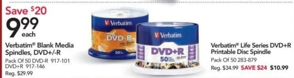 Office Depot and OfficeMax Black Friday: Verbatim® Life Series DVD+R Printable Disc Spindle for $10.99