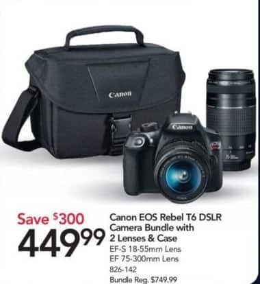 Office Depot and OfficeMax Black Friday: Canon EOS Rebel T6 DSLR Camera Bundle w/2 Lenses & Case for $449.99