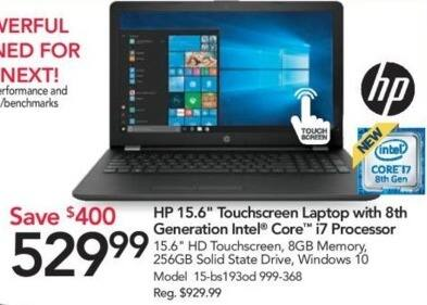 "Office Depot and OfficeMax Black Friday: HP 15.6"" 15-bs193od Touchscreen Laptop w/8th Gen Intel Core i7 Processor, 8GB RAM and 256 SSD for $529.99"