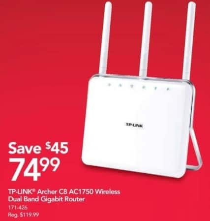Office Depot and OfficeMax Black Friday: TP-LINK Archer C8 AC1750 Wireless Dual Band Gigabit Router for $74.99