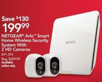 Office Depot and OfficeMax Black Friday: Netgear Arlo Smart Home Wireless Security System With 2 HD Cameras for $199.99