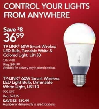 Office Depot and OfficeMax Black Friday: TP-LINK LB110 60W Smart Wireless LED Light Bulb for $19.99