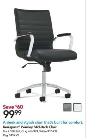 Office Depot and OfficeMax Black Friday: Realspace Winsley Mid-Back Chair for $99.99