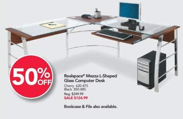 Ordinaire Office Depot And OfficeMax Black Friday: Realspace Mezza L Shaped Glass  Computer Desk For