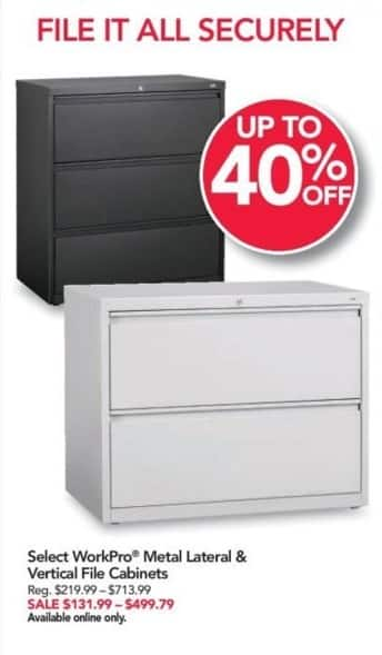 Office Depot and OfficeMax Black Friday: Select WorkPro Metal Lateral and Vertical File Cabinets for $131.99 - $499.79