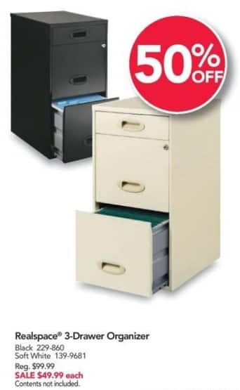 Office Depot and OfficeMax Black Friday: Realspace 3-Drawer Organizer for $49.99