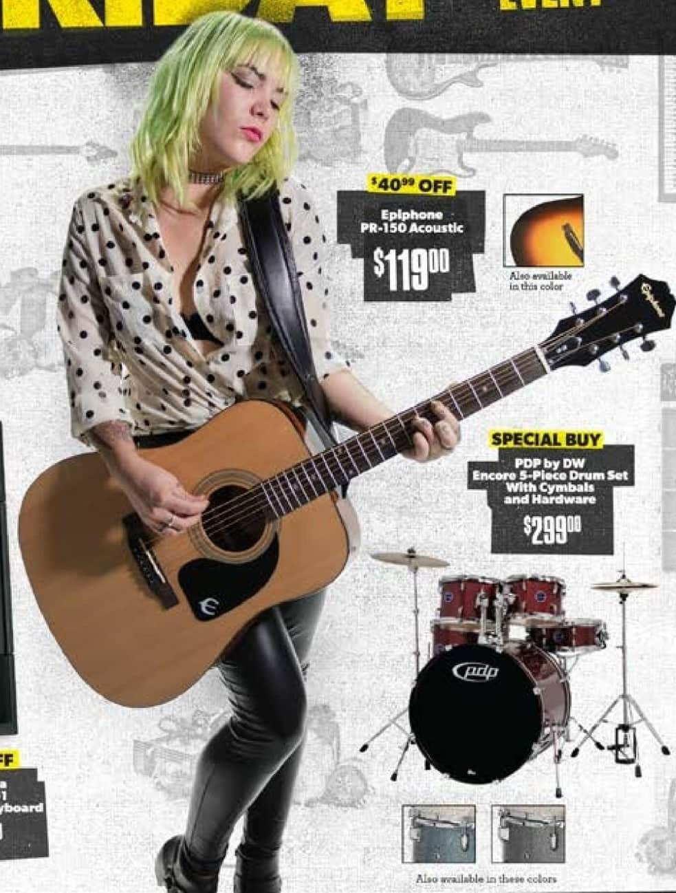 Guitar Center Black Friday: Epiphone PR-150 Acoustic Guitar Natural or Vintage Sunburst for $119.00