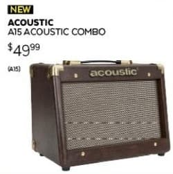 Guitar Center Black Friday: Acoustic A15 15W 1x6.5 Acoustic Instrument Combo Amp in Brown for $49.99