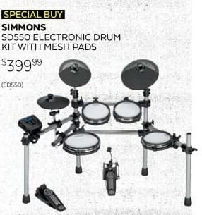 Guitar Center Black Friday: Simmons SD550 Electronic Drum Kit w/Mesh Pads for $399.99