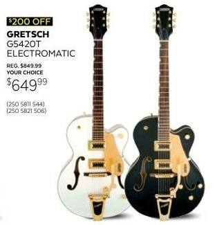 Guitar Center Black Friday: Gretsch Guitars G5420T Electromatic Hollow Body Electric Guitar in Snow Crest White for $649.99