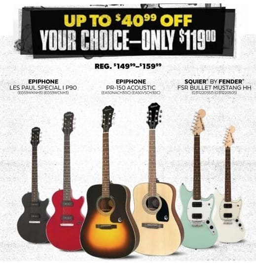 Guitar Center Black Friday: Epiphone Les Paul Special I P90 Electric Guitar in Worn Black or Cherry for $119.00