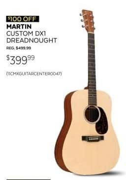 Guitar Center Black Friday: Martin X Series Custom DX1 Dreadnought Acoustic Guitar for $399.99