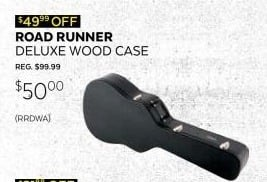 Guitar Center Black Friday: Road Runner RRDWA Deluxe Wood Dreadnought Acoustic Case for $50.00